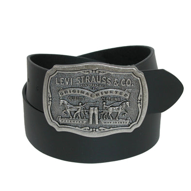 Men's Leather Belt with Removable Antiqued Logo Plaque Buckle