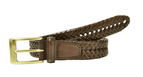 Men's Big & Tall Leather Adjustable Double V-Weave Braided Belt