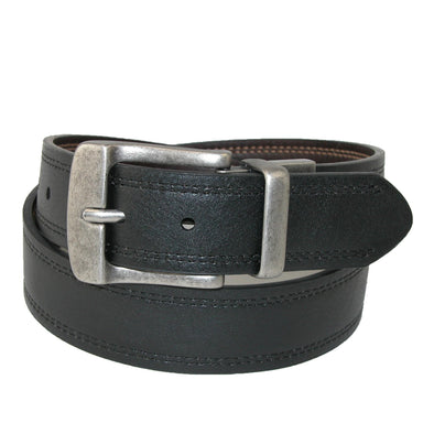 Men's Big & Tall Leather Reversible Belt with Double Row Stitch