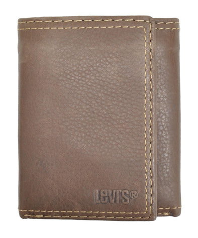 Men's Leather Interior Zipper Slim Trifold Wallet