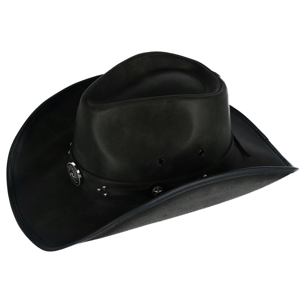 Men s Distressed Faux Leather Western Hat with Black Conchos and ... 8713529e84ff