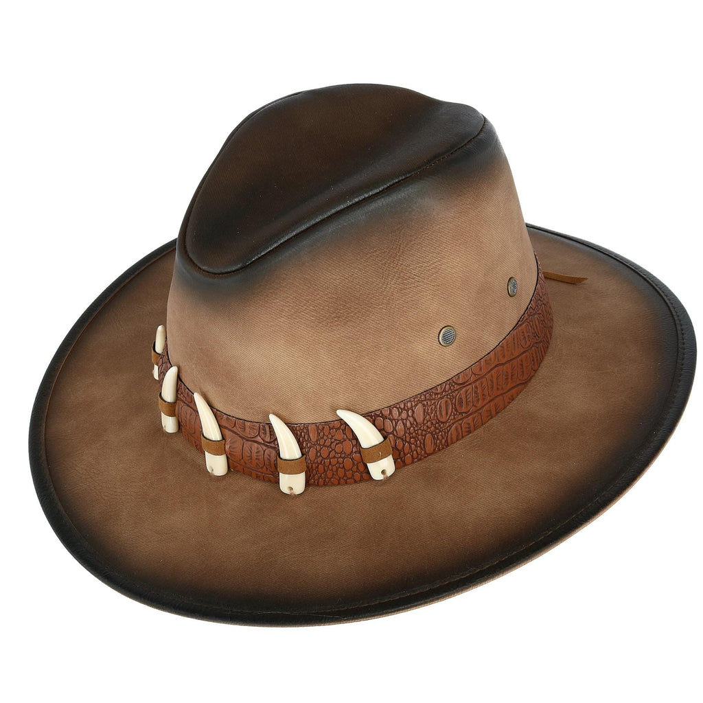 8344a36d244 Home  Kenny K Men s Distressed Faux Leather Western Hat with Faux Animal  Teeth. prev