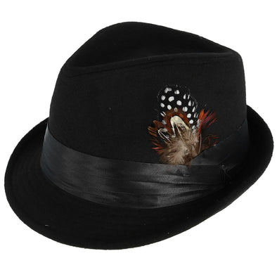 Men's Dressy Faux Felt Fedora with Feather