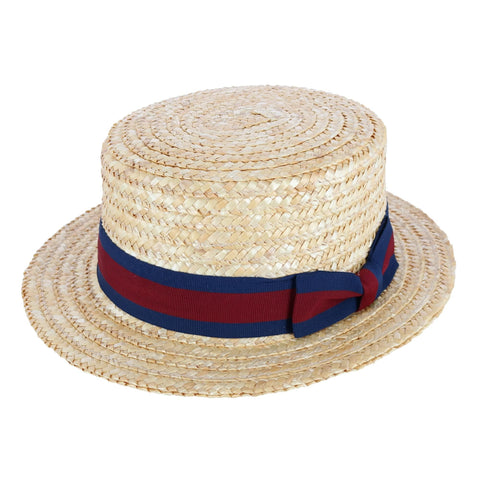 Straw 2.5 Inch Brim Boater Hat with Navy Band