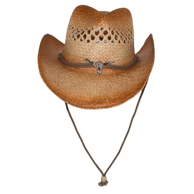 Men's Raffia Cowboy Hat with Longhorn Concho