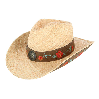 Women's Raffia Straw Western Hat with Decorative Rose Design