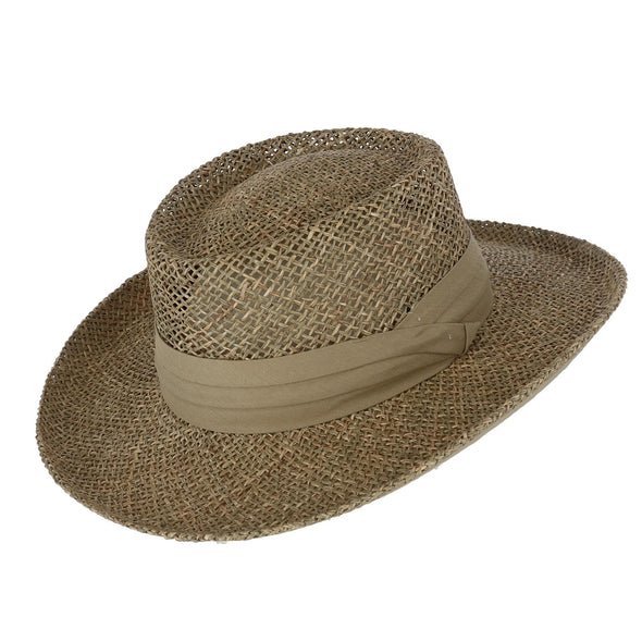 Men's Twisted Seagrass Gambler Hat with Pleated Band