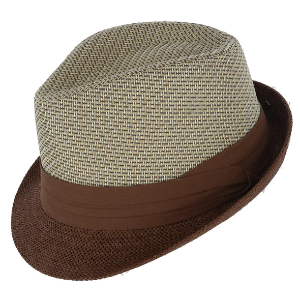 Men's Two Tone Fedora with Pleated Band