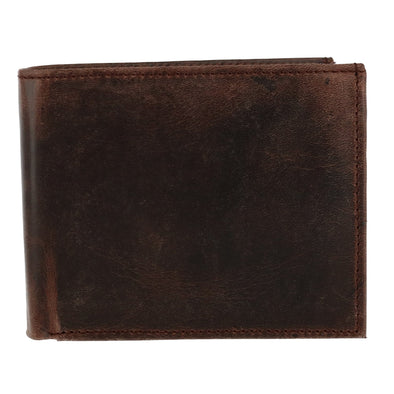 Men's Hunter Leather RFID Bifold Wallet with Flap