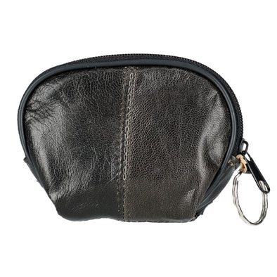 Leather Compact Zipper Coin Pouch Wallet