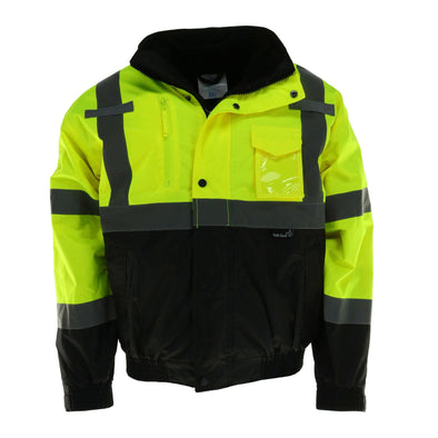 Men's Fluorescent Bomber Rain Jacket with Removable Fleece Lining