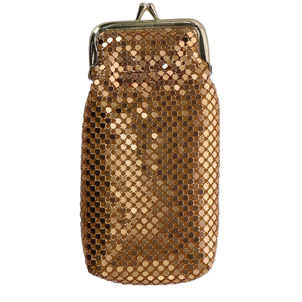 Women's Mesh Cigarette Case with Lighter Pocket and Kiss Lock Closure