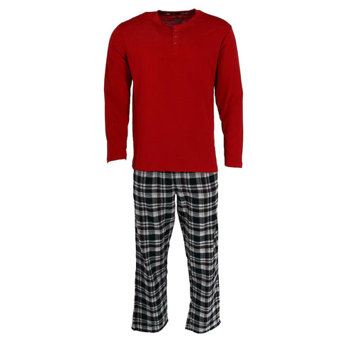 Men's Cotton Long Sleeve Shirt and Flannel Pajama Pants