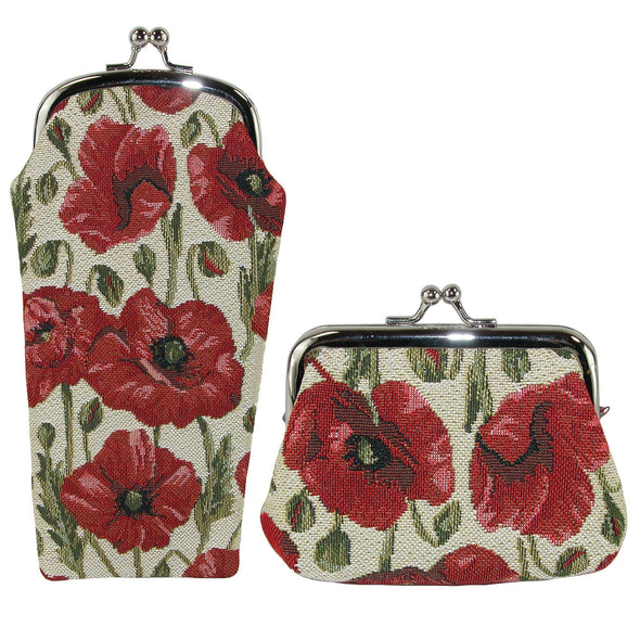 Women's Poppy Print Tapestry Glasses Case and Coin Purse Set
