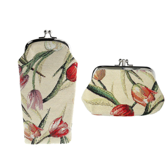 Women's Tulip Print Tapestry Glasses Case and Coin Purse Set