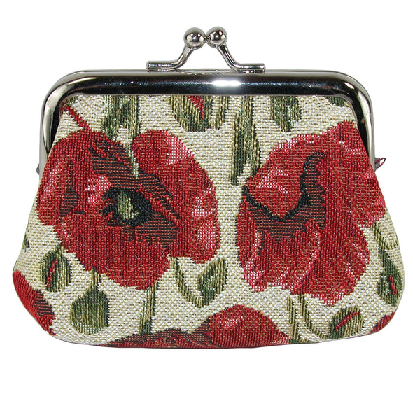 Women's Poppy Print Tapestry Coin Purse Wallet