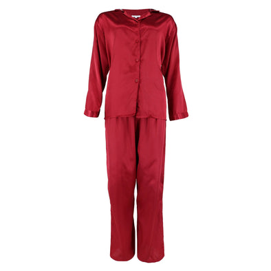 Women's Silky Satin Long Pajama Set with Notch Collar Top