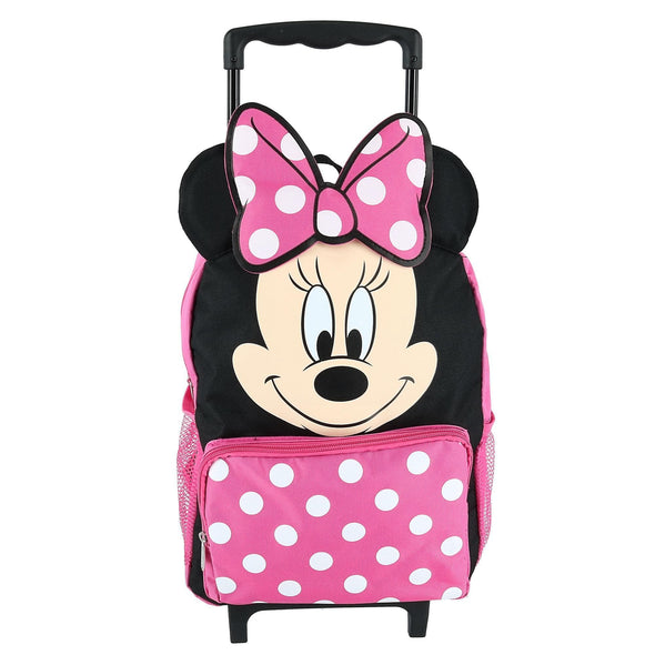 Kids' 14 Inch Big Face Minnie Mouse Rolling Backpack