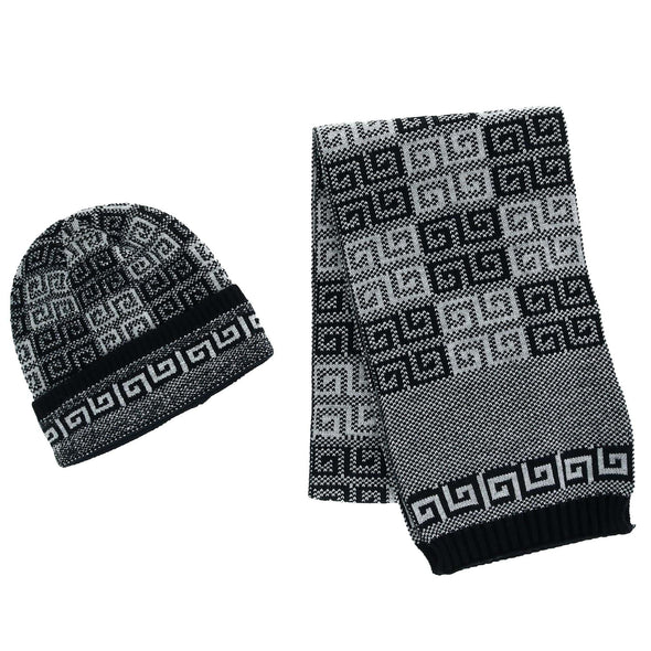 Men's Ribbed Knit Cuff Cap with Sherpa Lining and Matching Scarf Set