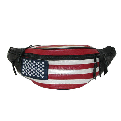 Leather Patriotic American Flag Fanny Waist Pack