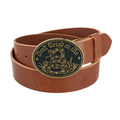 Men's Bridle Belt with Don't Tread on Me Buckle (2 Buckle Set)