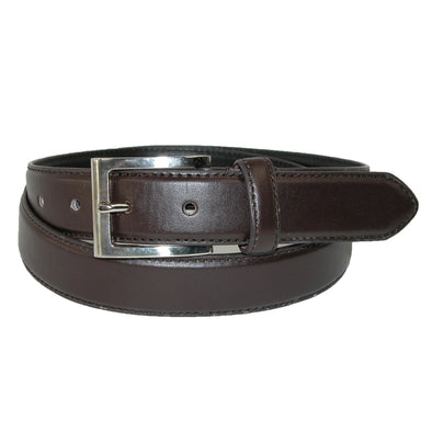 Men's Leather 1 1/8 Inch Basic Dress Belt with Silver Buckle