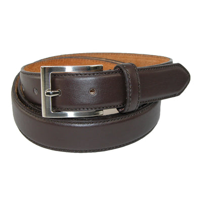 Men's Big & Tall Leather Basic Dress Belt with Silver Buckle