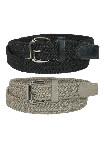 Kids' Elastic Braided Stretch Belt (Pack of 2 Colors)