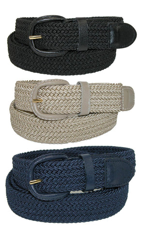 Men's Elastic Braided Stretch Belt (Pack of 3 Colors)