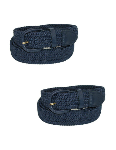 Men's Elastic Braided Belt with Covered Buckle (Pack of 2)