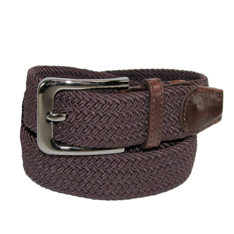 Men's Big & Tall Elastic Braided Stretch Belt with Silver Buckle