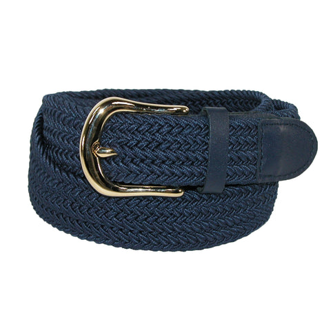 Men's Elastic Stretch Belt with Gold Buckle and Matching Tabs