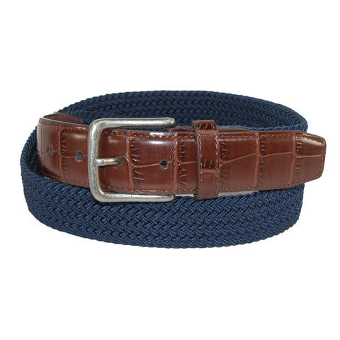 Men's Elastic Braided Golf Belt with Croco Print End Tabs