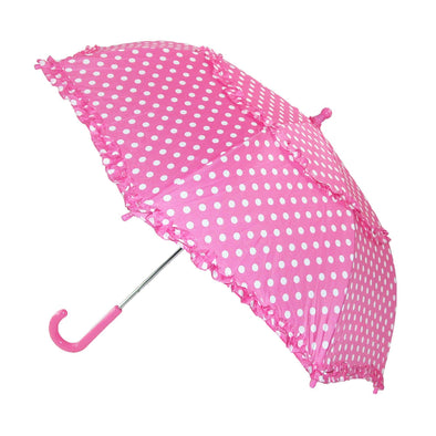 Kids' Hook Handle Ruffled Polka Dot Umbrella