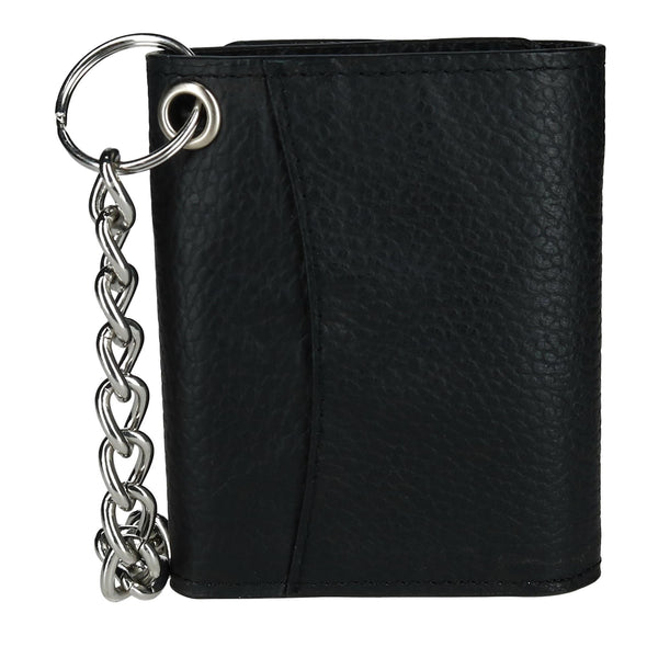 Men's Pebble Grain Leather RFID Trifold Chain Wallet