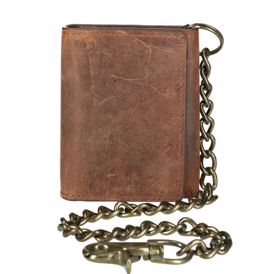 Men's Crazy Horse Leather RFID Trifold Chain Wallet