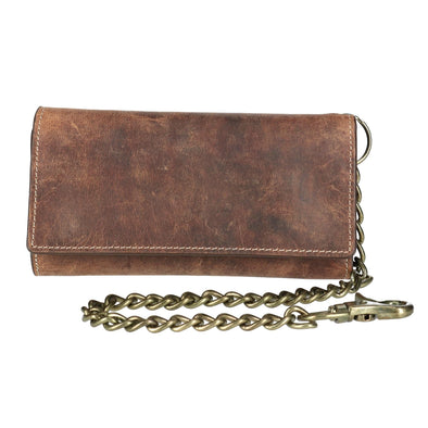 Men's Crazy Horse Leather RFID Long Trifold Chain Wallet