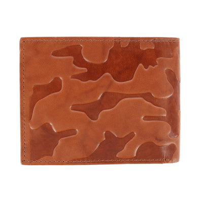 Men's Leather Camouflage Bifold Wallet with Passcase