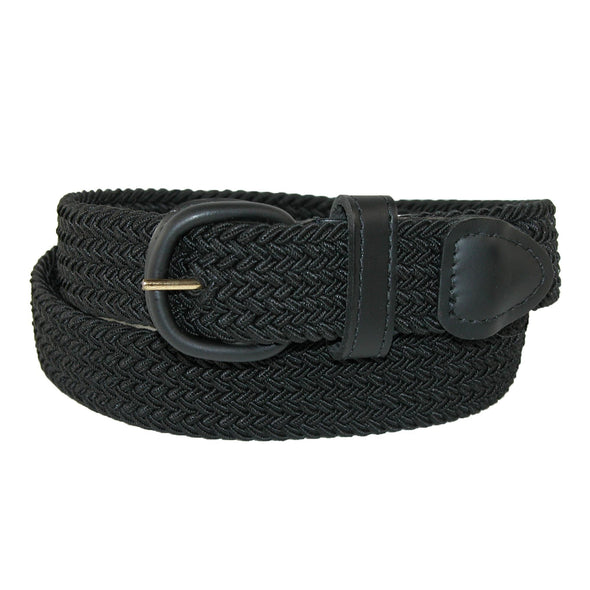 Men's Elastic Braided Belt with Covered Buckle