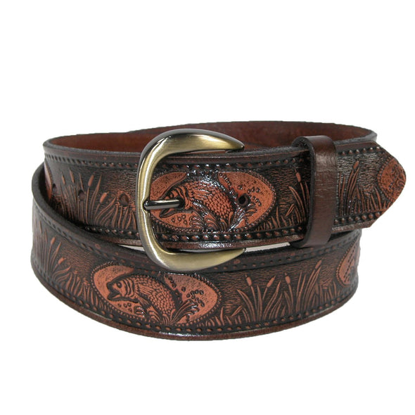 Men's Leather Fish Embossed Bridle Belt
