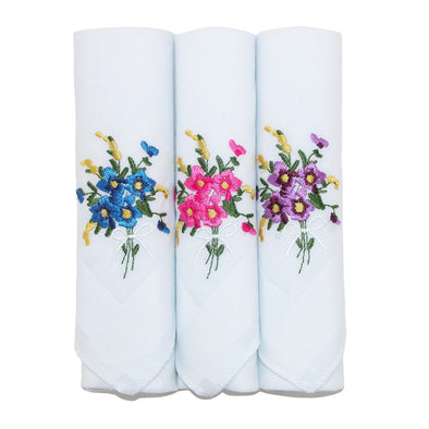 Women's Floral Embroidered Cotton Handkerchief Set (Pack of 3)
