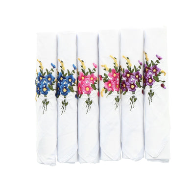 Women's Floral Embroidered Cotton Handkerchiefs (Pack of 6)