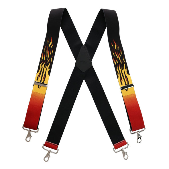 Men's Big & Tall Elastic Flame Print Suspenders with Metal Swivel Hook Ends