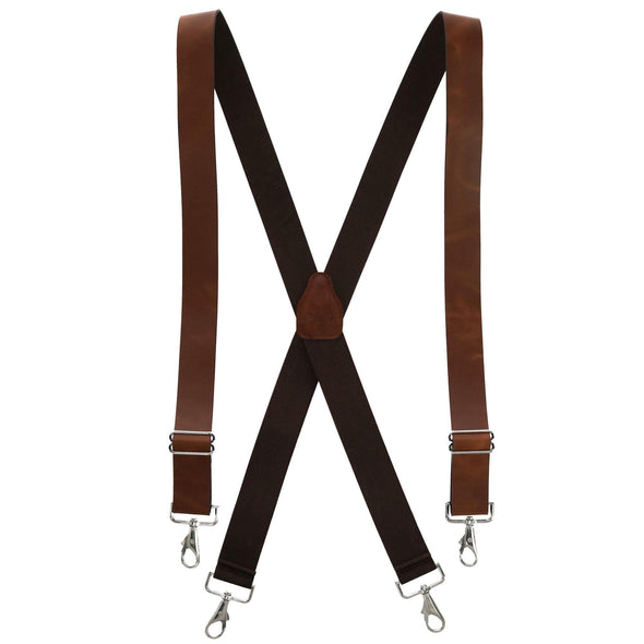 Men's Smooth Coated Leather Wide Width Suspenders with Metal Swivel Hook Ends
