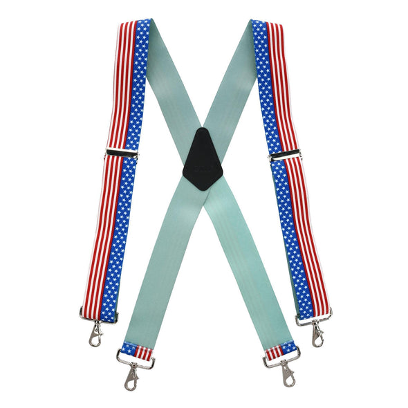 Men's Big & Tall Stars and Stripes Suspenders with Metal Swivel Hook Ends