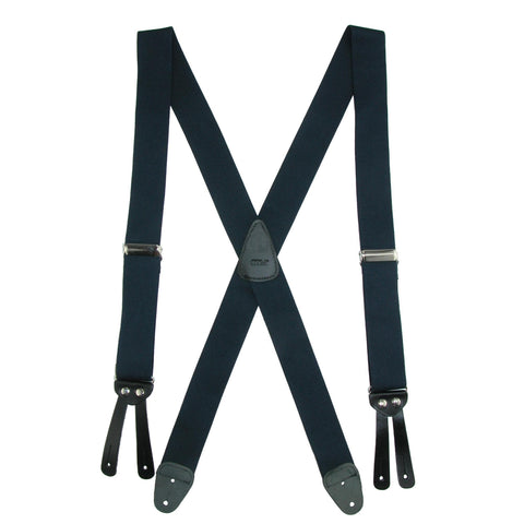 New CTM Men/'s Leather H-Back Button-End Suspenders