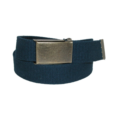 Men's Fabric Belt with Brass Flip Top Buckle