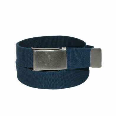 Men's Fabric Belt with Nickel Flip Top Buckle