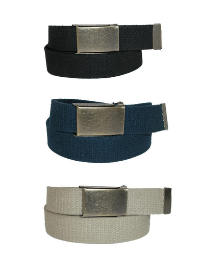 Men's Fabric Belt with Brass Flip Top Buckle (Pack of 3)