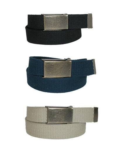 Men's Big & Tall Belt with Flip Top Brass Buckle (Pack of 3)